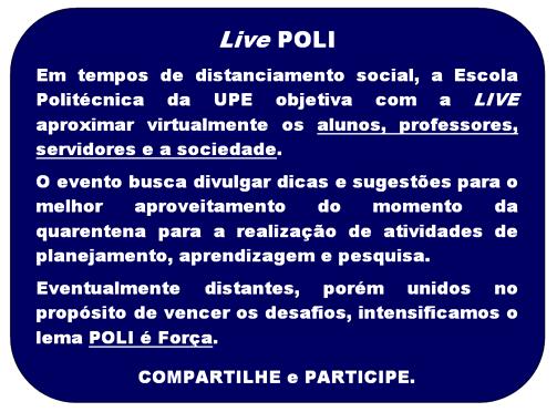 Live POLI – 15/05/20, às 10h.