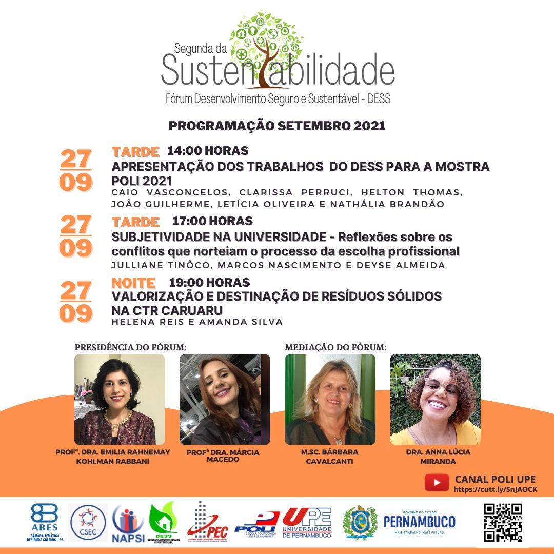 Segunda da Sustentabilidade: Forum DESS de Setembro – 27/09/2021 das 14:00 as 20:30